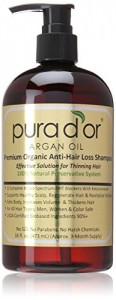 Pura d'or Premium Organic Argan Oil Anti-Hair Loss Shampoo (Gold Label), 16 Fluid Ounce